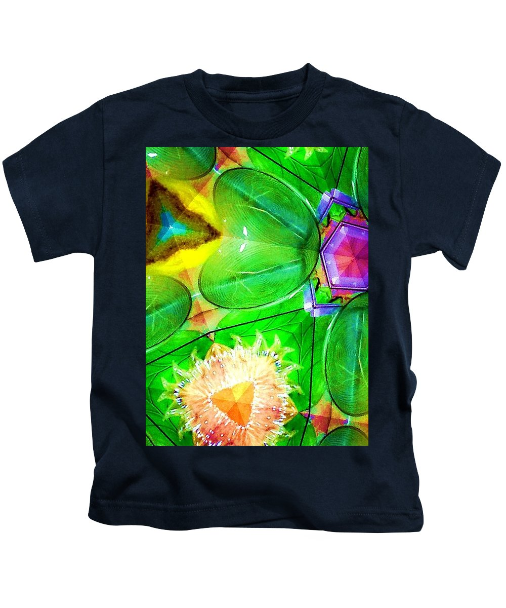 Green Kids T-Shirt featuring the digital art Green Thing 2 Abstract by Saundra Myles