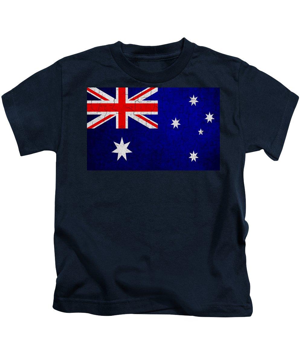 Aged Kids T-Shirt featuring the digital art Grunge Australia Flag by Steve Ball