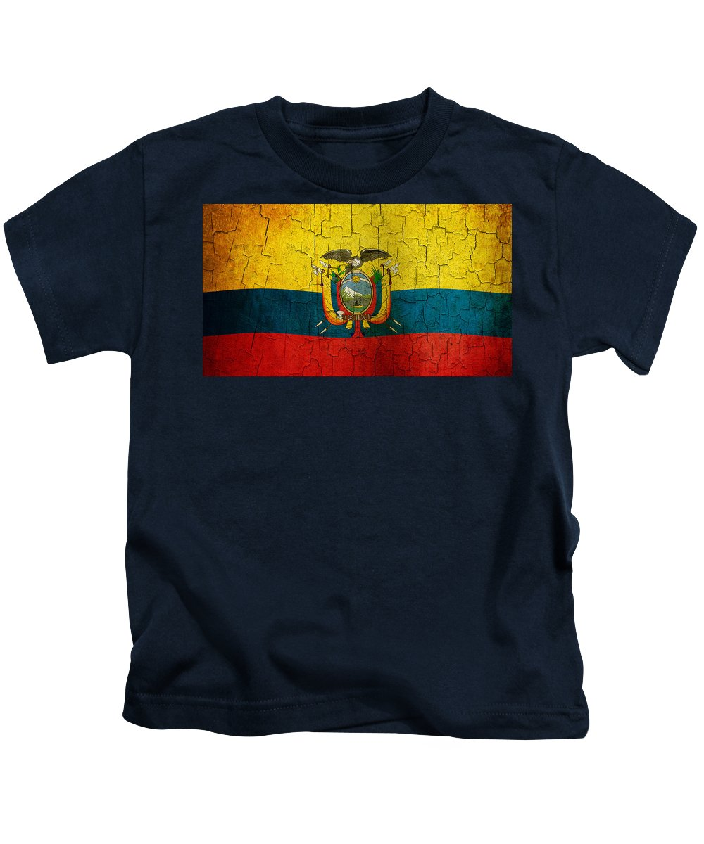 Aged Kids T-Shirt featuring the digital art Grunge Ecuador Flag by Steve Ball