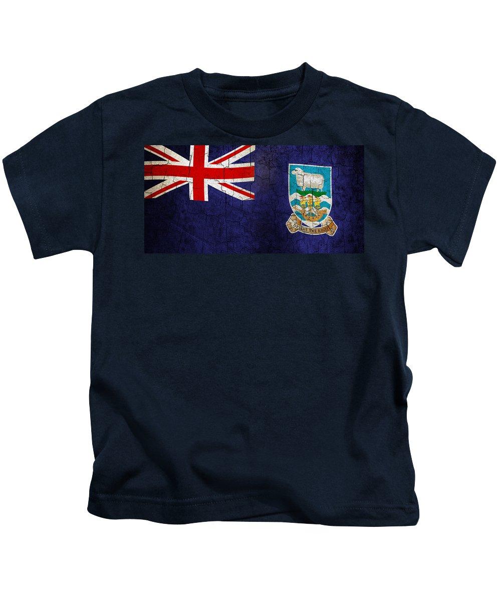Aged Kids T-Shirt featuring the digital art Grunge Falkland Islands Flag by Steve Ball