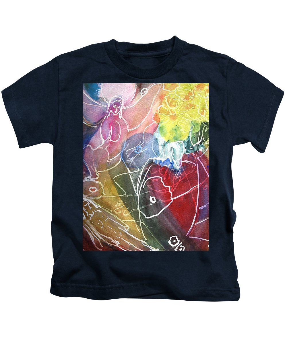 Modern Floral Kids T-Shirt featuring the painting Guardian Of Light by Tolere