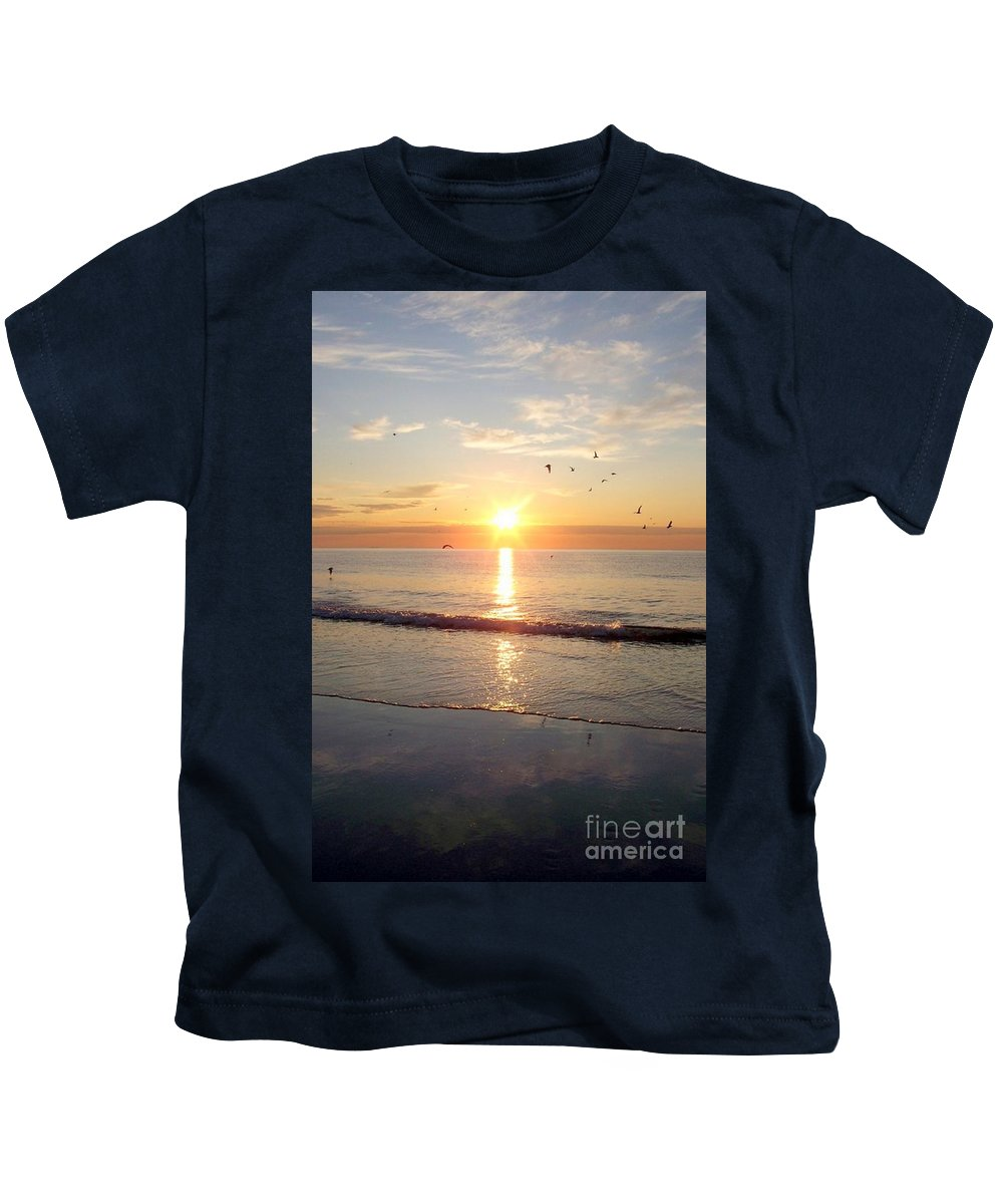 Seascape Kids T-Shirt featuring the photograph Gulls Dance In The Warmth Of The New Day by Eunice Miller
