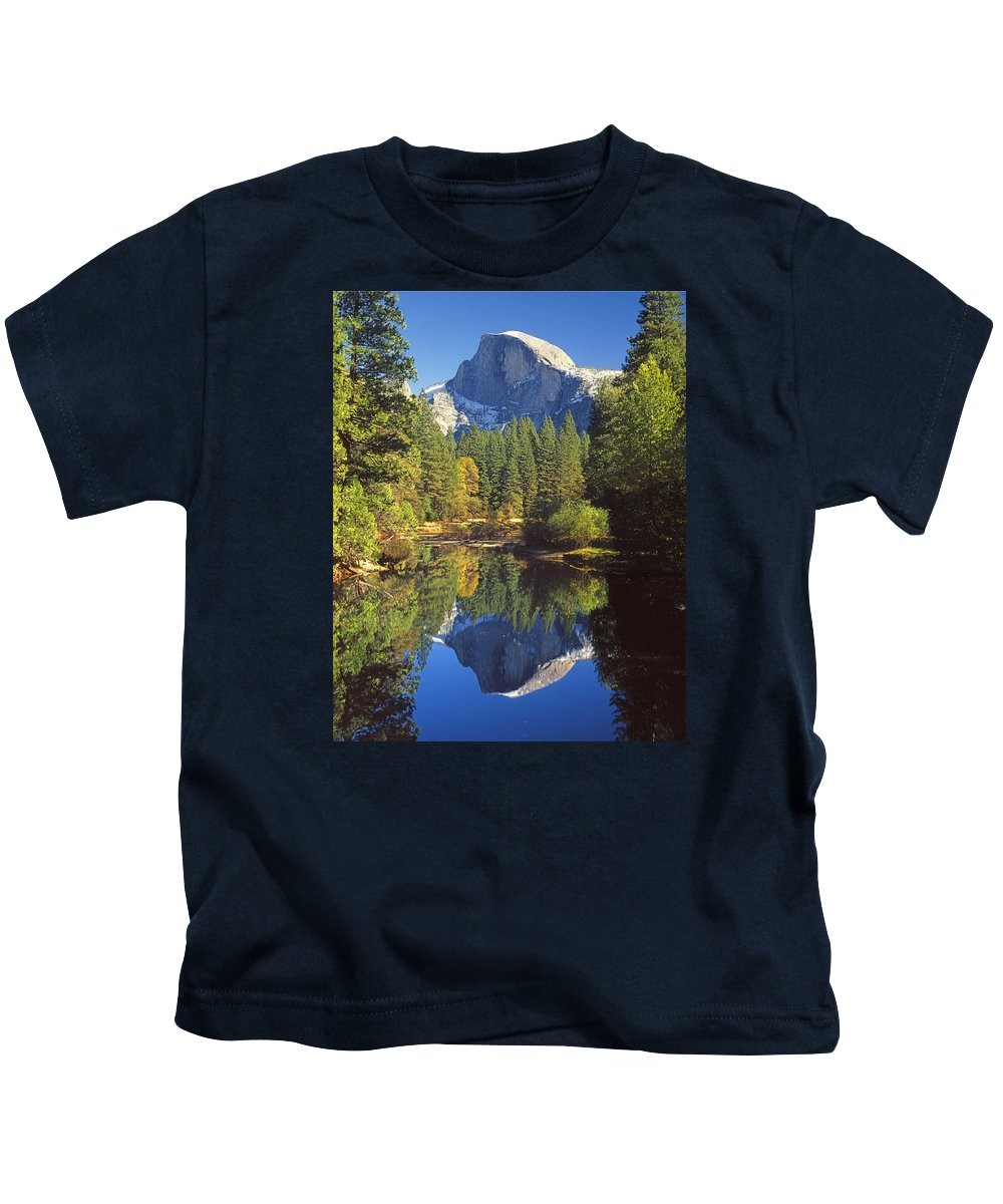Halfdome Kids T-Shirt featuring the photograph 2m6709-half Dome Reflect - V by Ed Cooper Photography