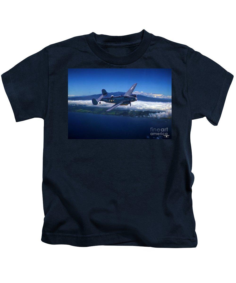 Lockheed Kids T-Shirt featuring the digital art Hawiian Patrol by Tommy Anderson