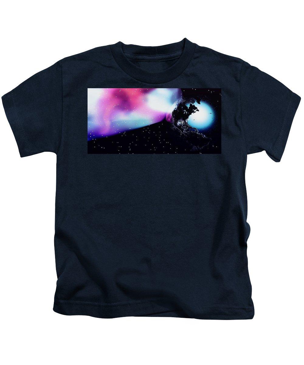 Pink Kids T-Shirt featuring the digital art Heal The World by Lisa Brandel