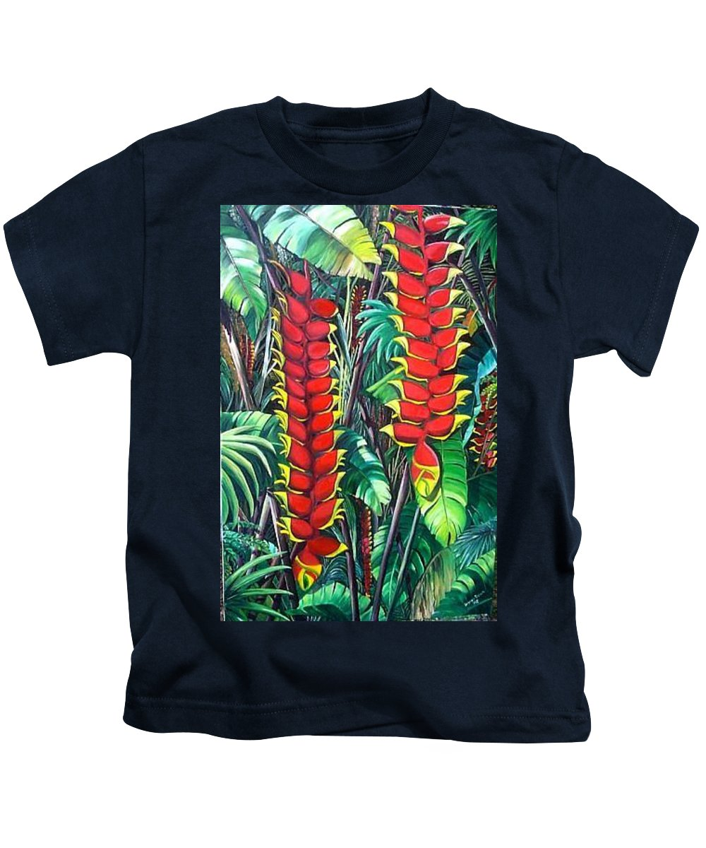 Heliconia Painting Hanging Red Heliconia Tropical Painting Kids T-Shirt featuring the painting Heliconia Rostrata by Karin Dawn Kelshall- Best