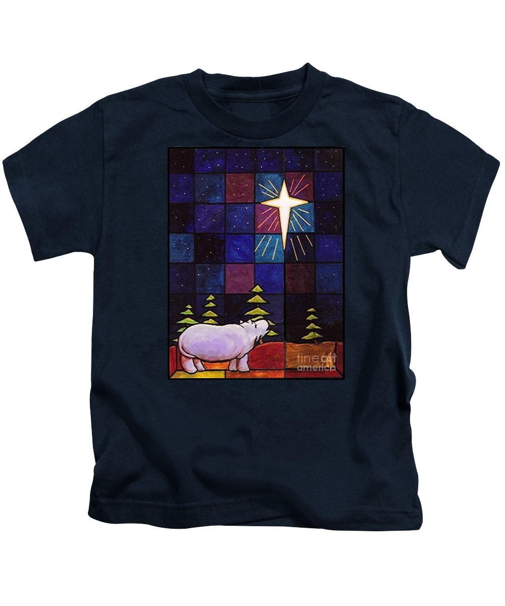 Christmas Kids T-Shirt featuring the painting Hippo Awe And Wonder by Jim Harris