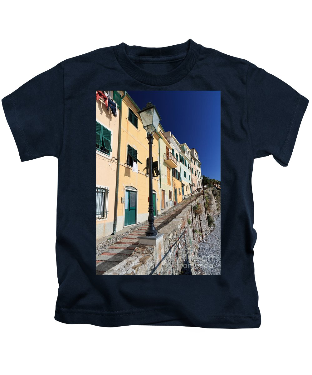 Ancient Kids T-Shirt featuring the photograph Homes In Bogliasco by Antonio Scarpi