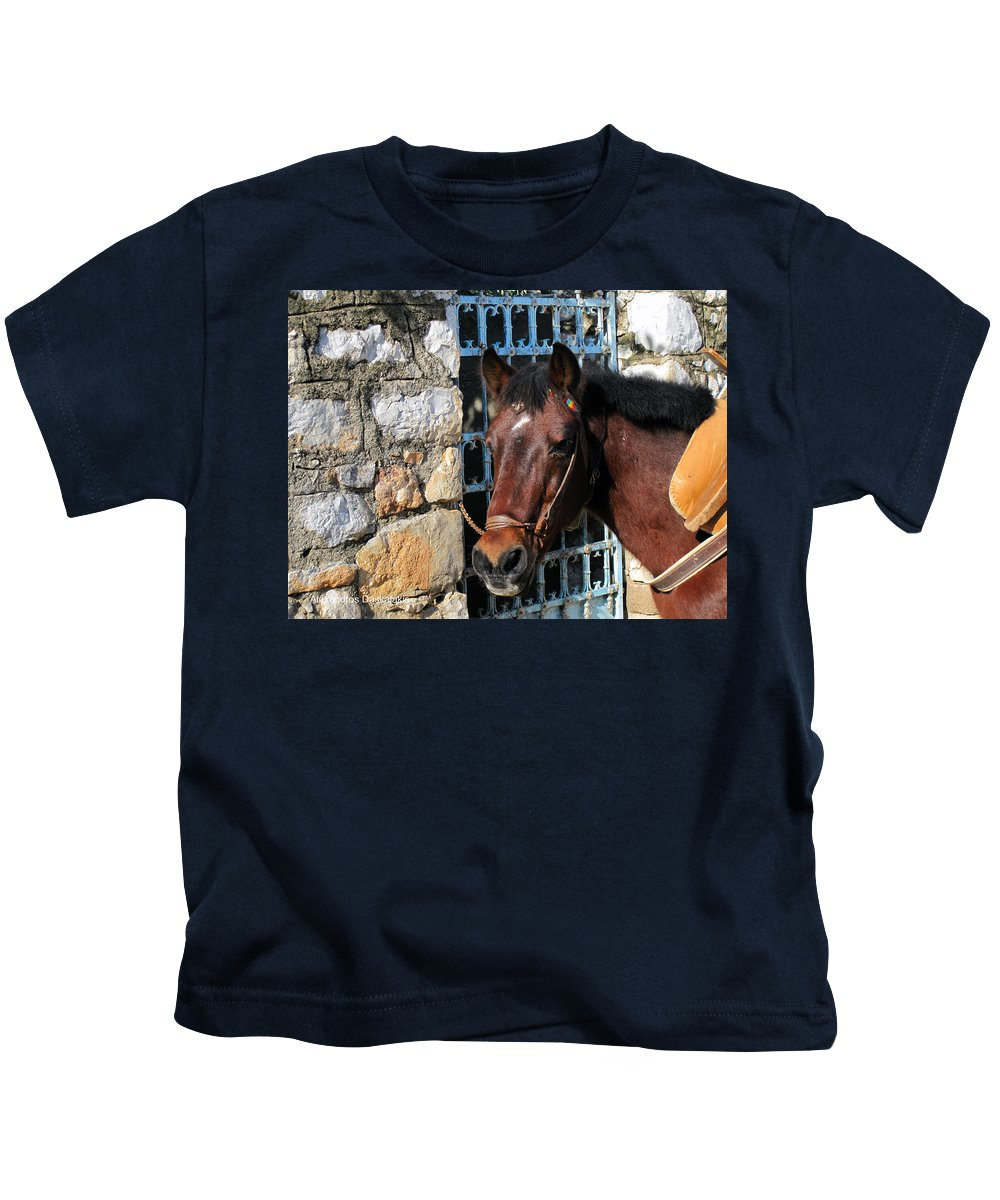 Alexandros Daskalakis Kids T-Shirt featuring the photograph Horse Head by Alexandros Daskalakis