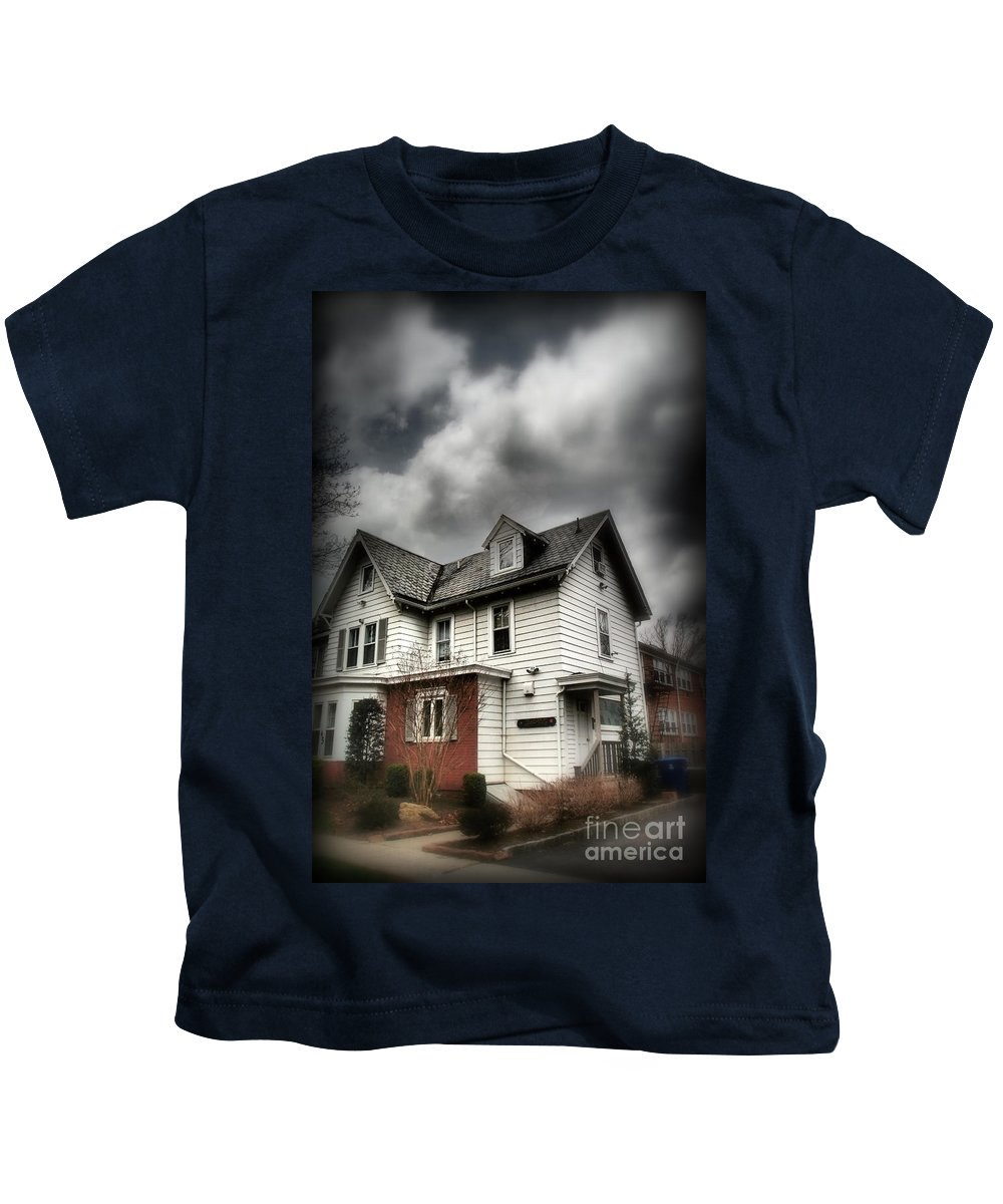 House Kids T-Shirt featuring the photograph House With Brick Front - American Gothic by Miriam Danar