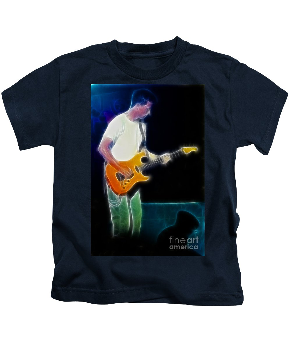 Huey Lewis Kids T-Shirt featuring the photograph Huey Lewis-chris-gd0a-fractal by Gary Gingrich Galleries