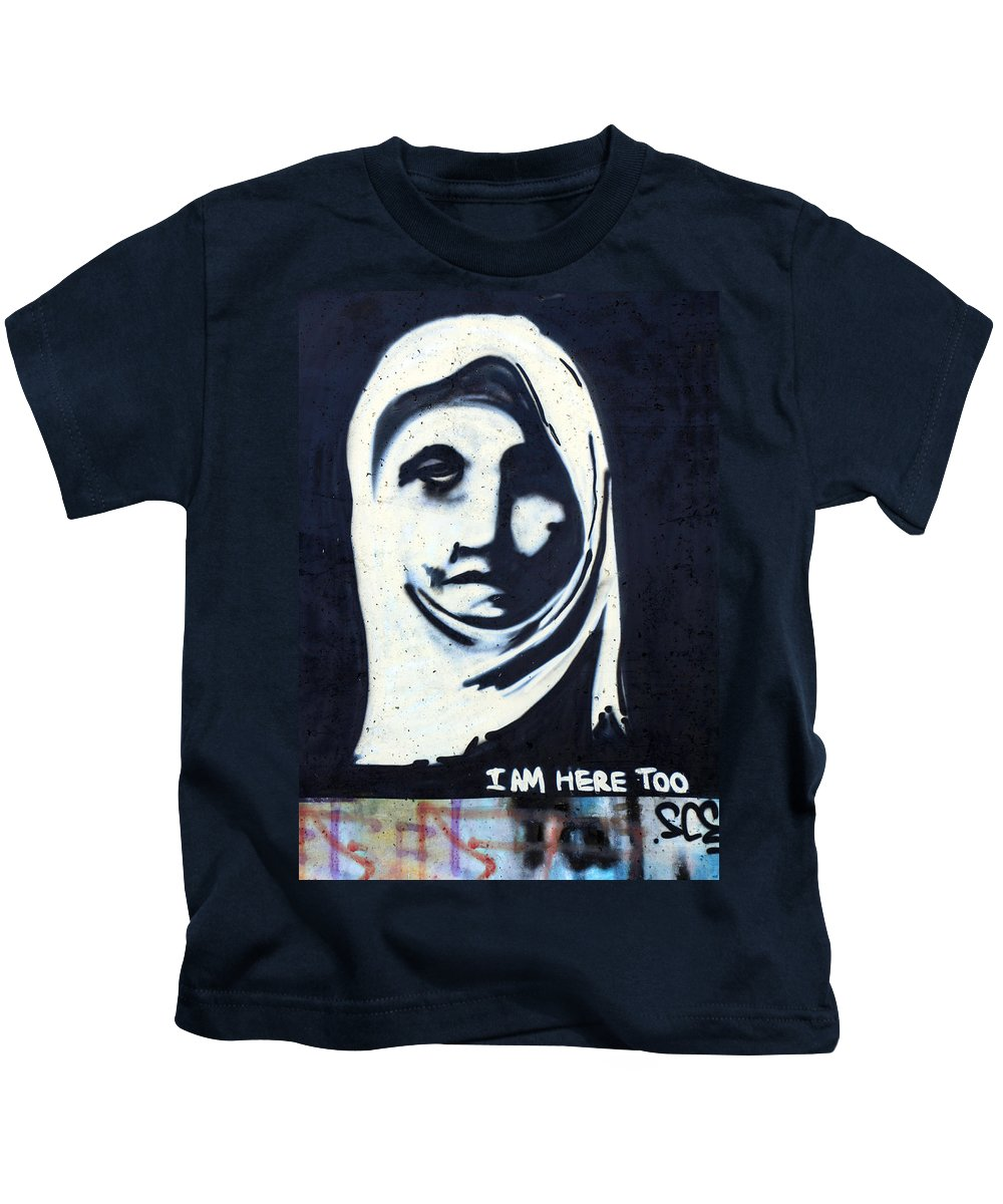 Face Kids T-Shirt featuring the photograph I Am Here Too by Munir Alawi