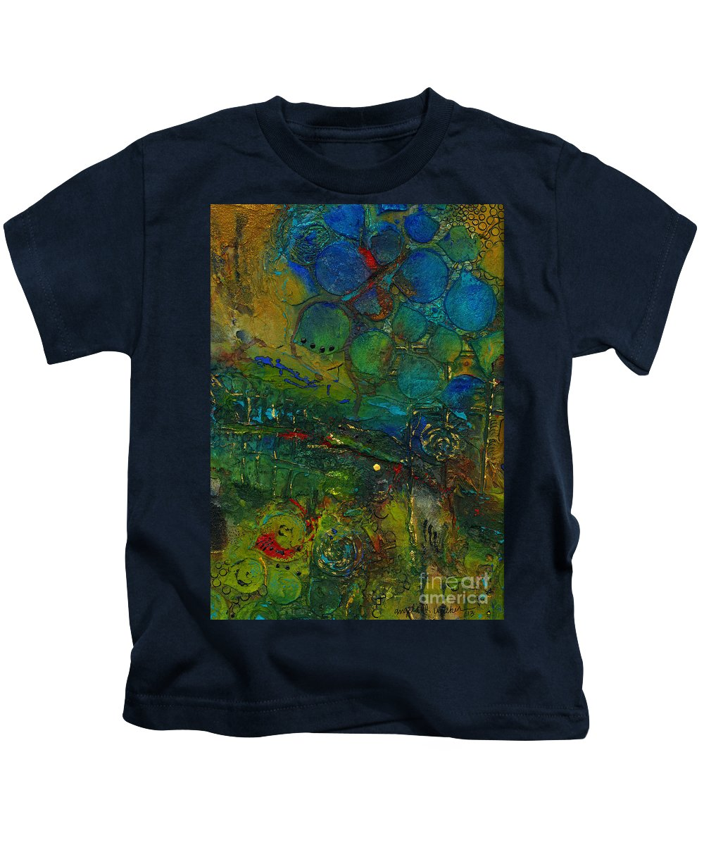 Abstract Mixed Media Kids T-Shirt featuring the mixed media I Love This Land by Angela L Walker