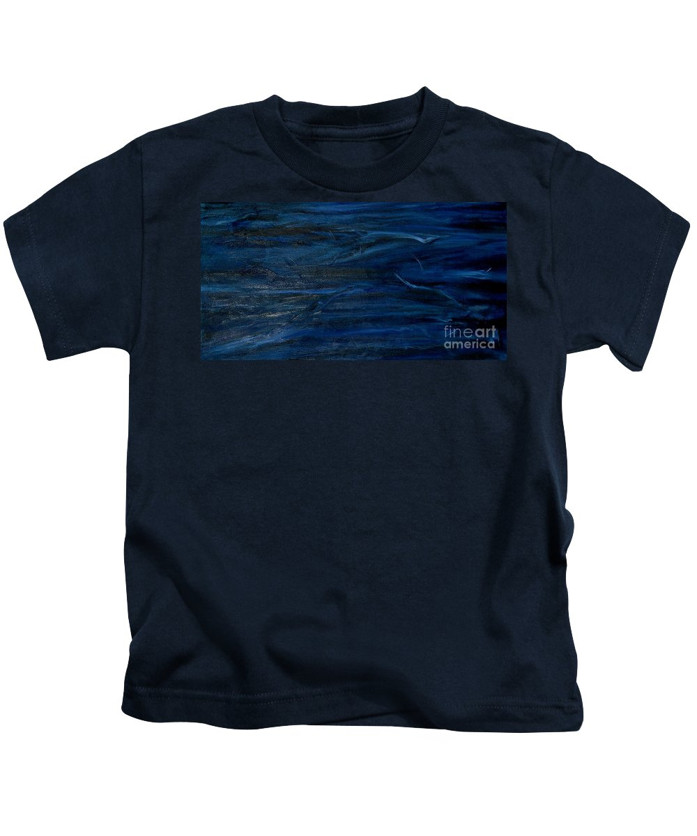 Modern Art Kids T-Shirt featuring the painting Immense Blue by Silvana Abel