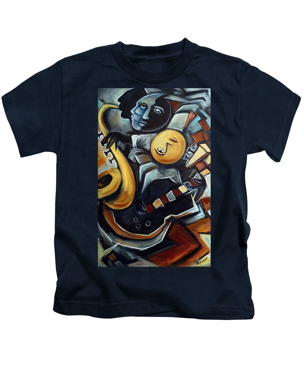 Cubism Kids T-Shirt featuring the painting Indigo Blues by Valerie Vescovi