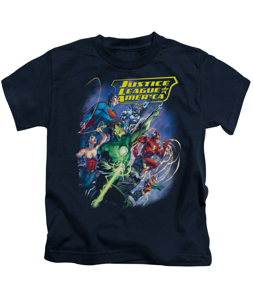 Justice League Of America Kids T-Shirt featuring the digital art Jla - Onward by Brand A