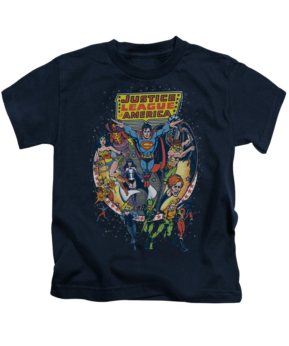Justice League Of America Kids T-Shirt featuring the digital art Jla - Star Group by Brand A