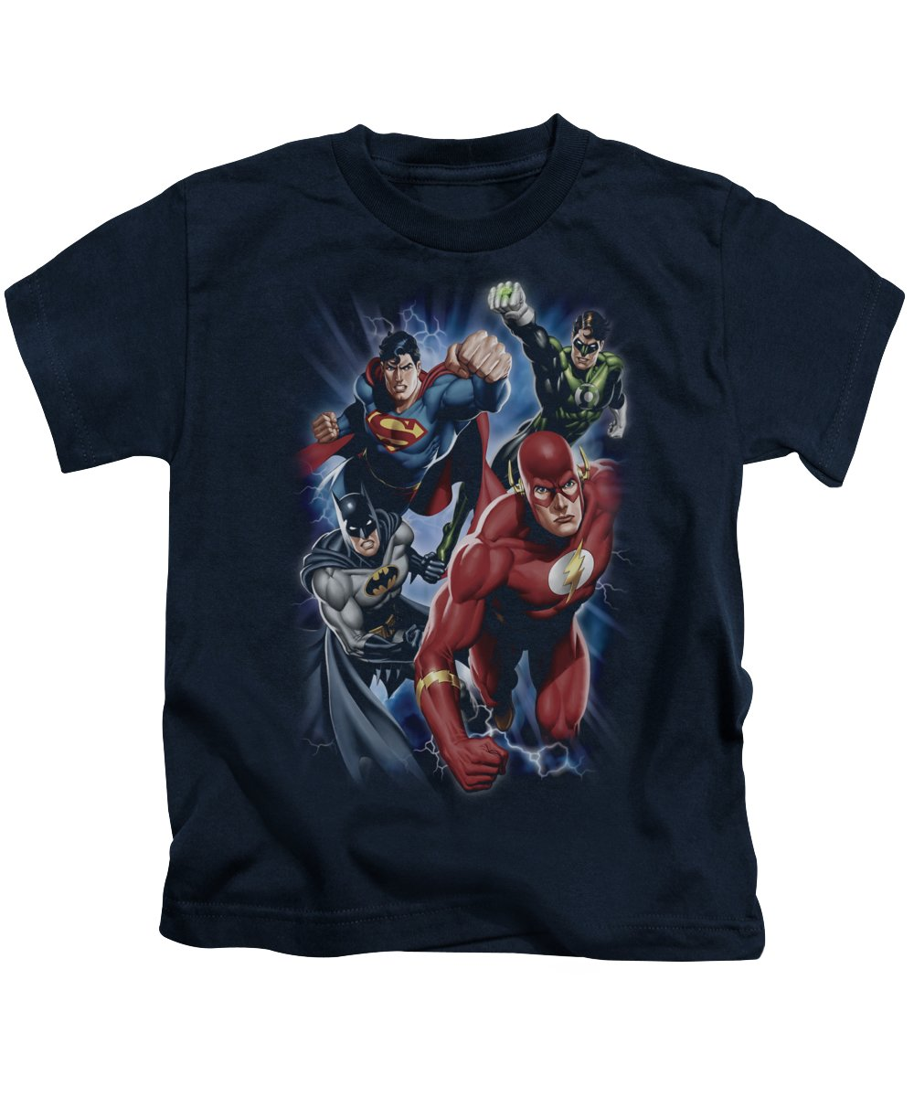 Justice League Of America Kids T-Shirt featuring the digital art Jla - Storm Chasers by Brand A