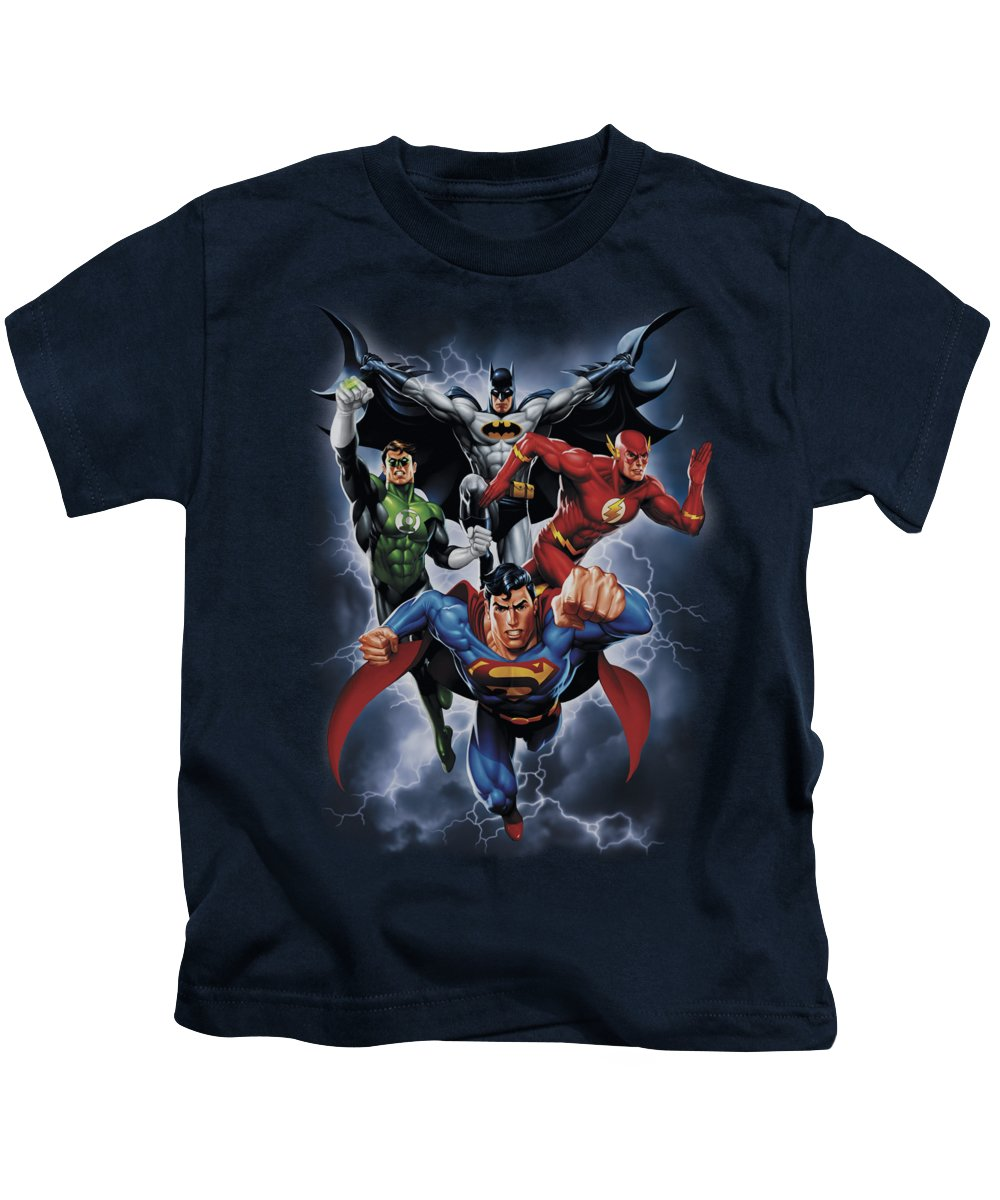 Justice League Of America Kids T-Shirt featuring the digital art Jla - The Coming Storm by Brand A