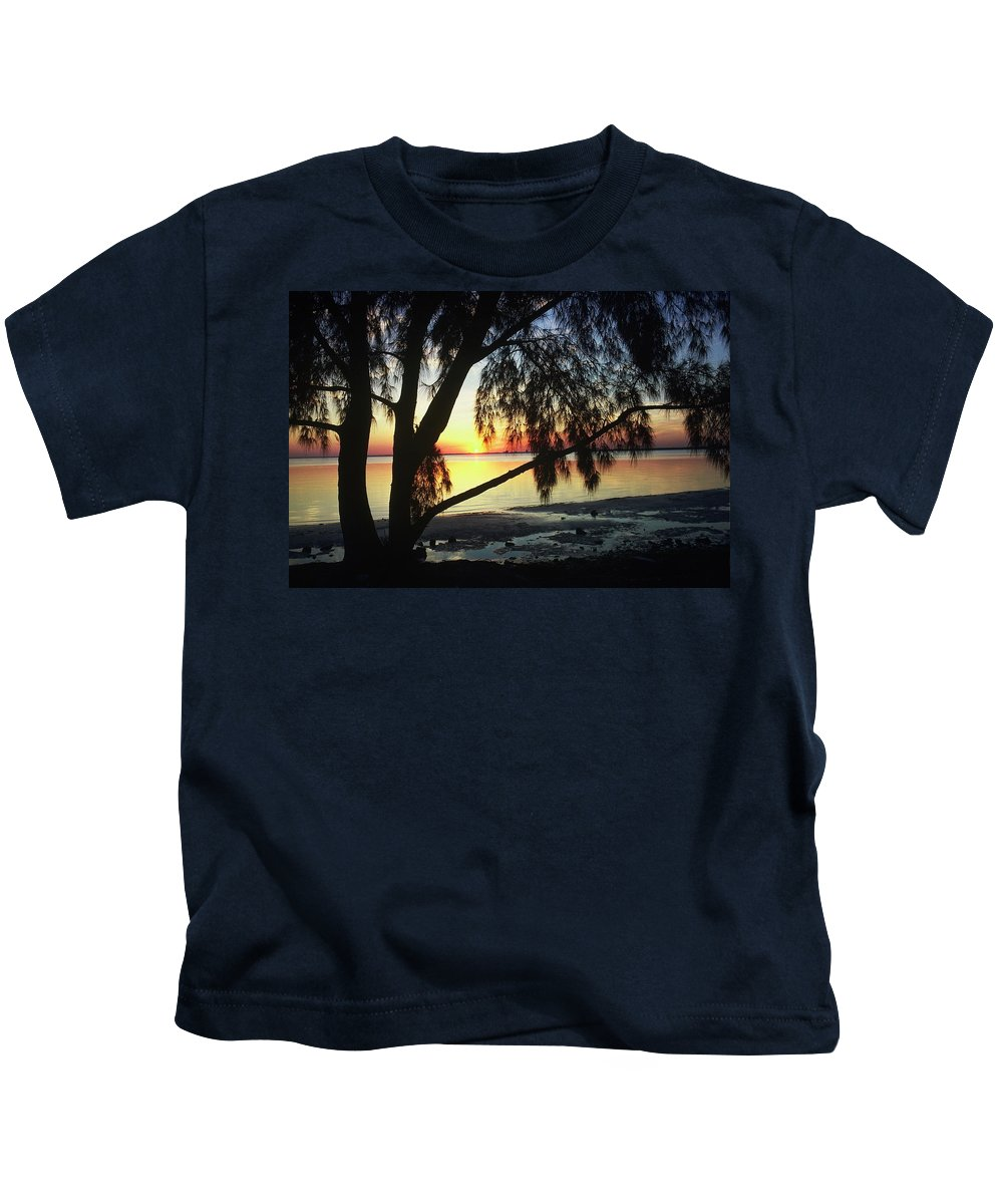 Key Biscayne Sunset Kids T-Shirt featuring the photograph Key Biscayne Sunset by Allen Beatty
