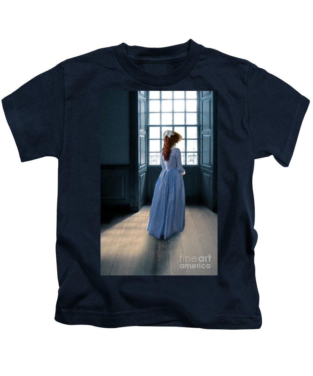 Beautiful Kids T-Shirt featuring the photograph Lady In Purple Gown By Window by Jill Battaglia