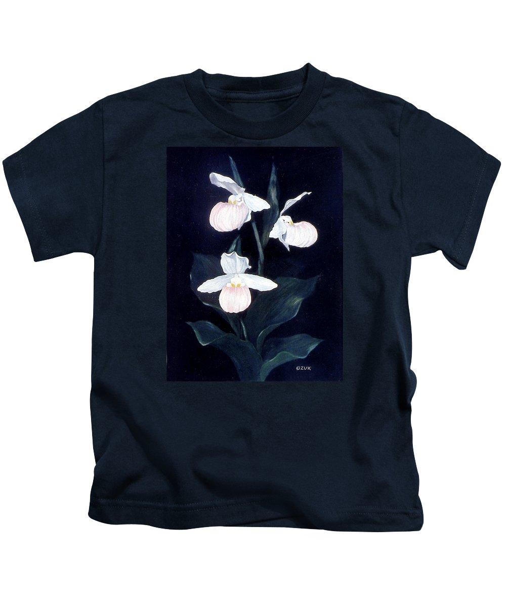 Karen Zuk Rosenblatt Art And Photography Kids T-Shirt featuring the painting Lady Slipper by Karen Zuk Rosenblatt