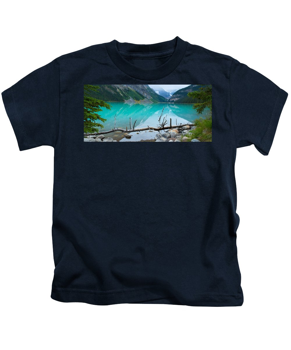 Photography Kids T-Shirt featuring the photograph Lake With Canadian Rockies by Panoramic Images