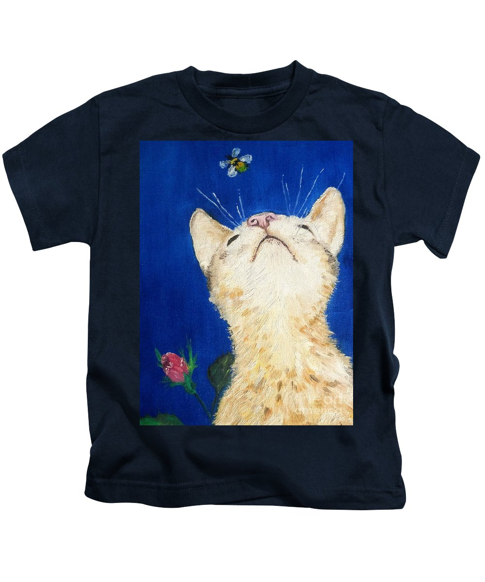 Cats Kids T-Shirt featuring the painting Lea And The Bee by Reina Resto