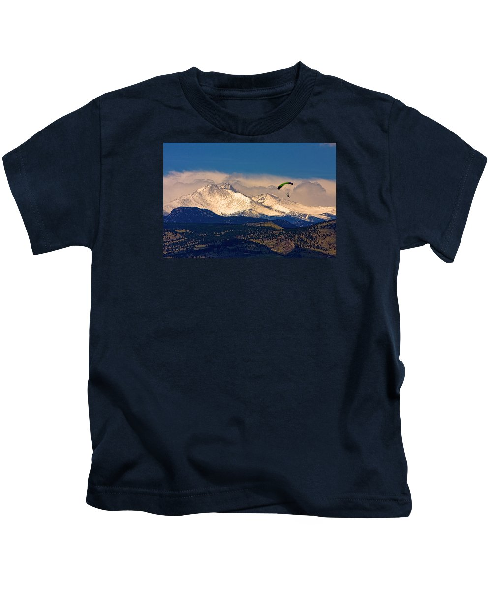 Oulder County Kids T-Shirt featuring the photograph Leap Of Faith by James BO Insogna