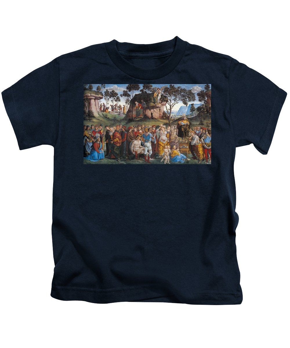 1481-1482 Kids T-Shirt featuring the painting Legacy And Death Of Moses by Luca Signorelli