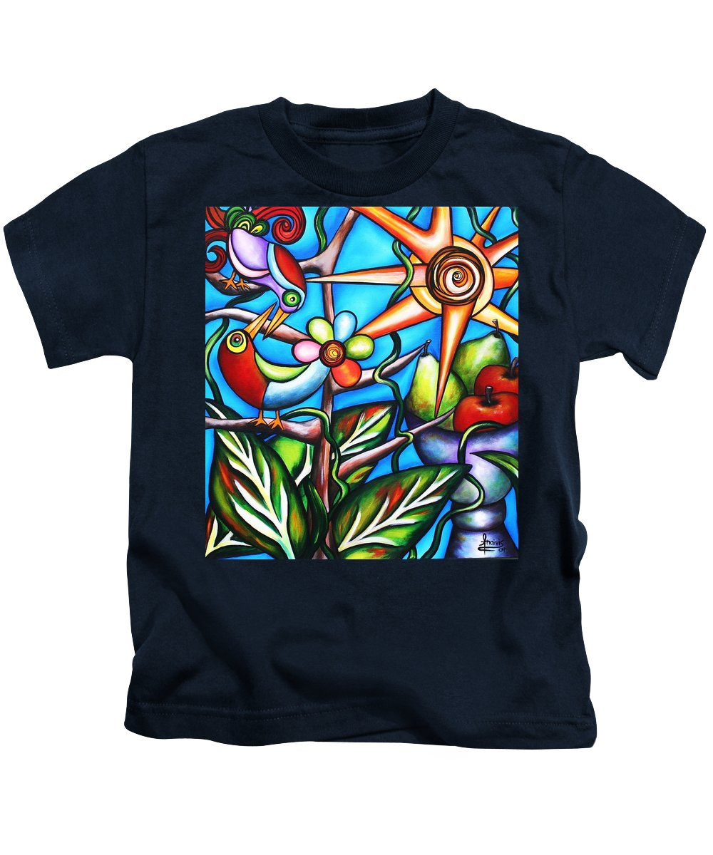 Birds Kids T-Shirt featuring the painting Let It Be by Annie Maxwell
