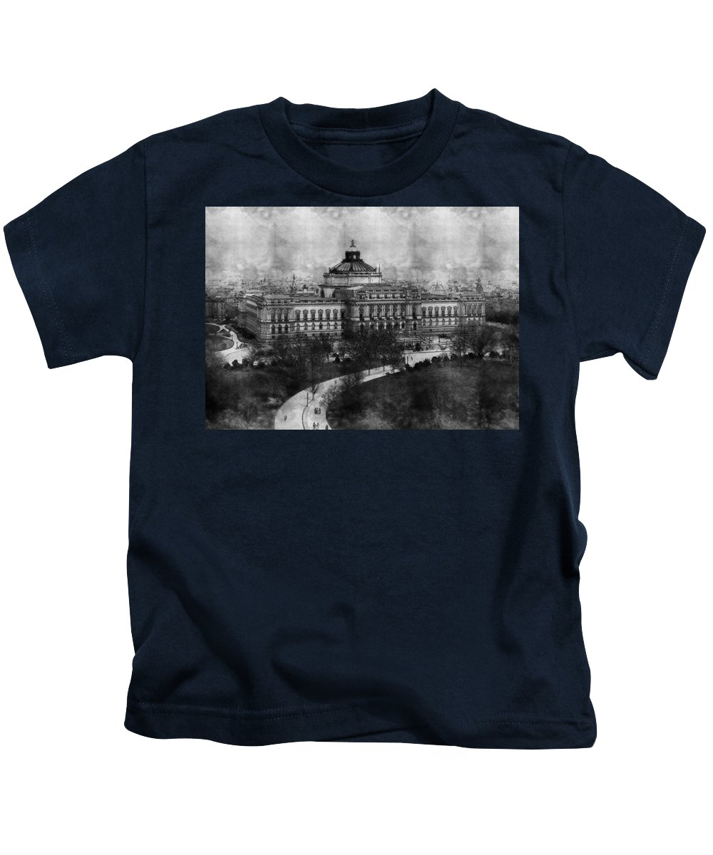 Library Of Congress Washington Dc 1902 Sketch Kids T-Shirt featuring the photograph Library Of Congress Washington Dc 1902 Sketch by Celestial Images