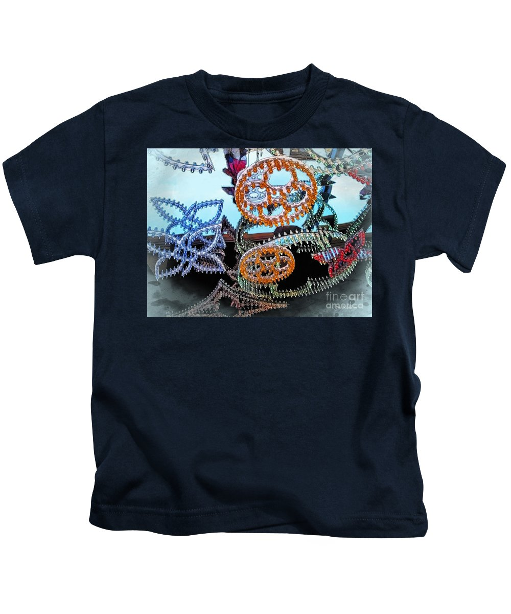 Seasons Greetings Kids T-Shirt featuring the photograph Lighted Circles by Joan Minchak