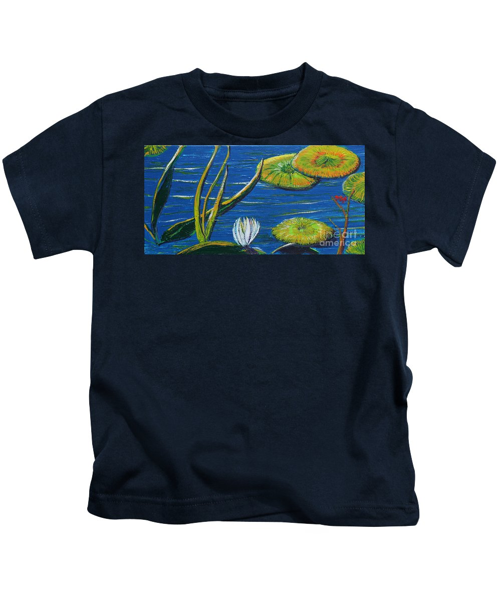 Landscape Kids T-Shirt featuring the painting Lilly Pads by Stefan Duncan