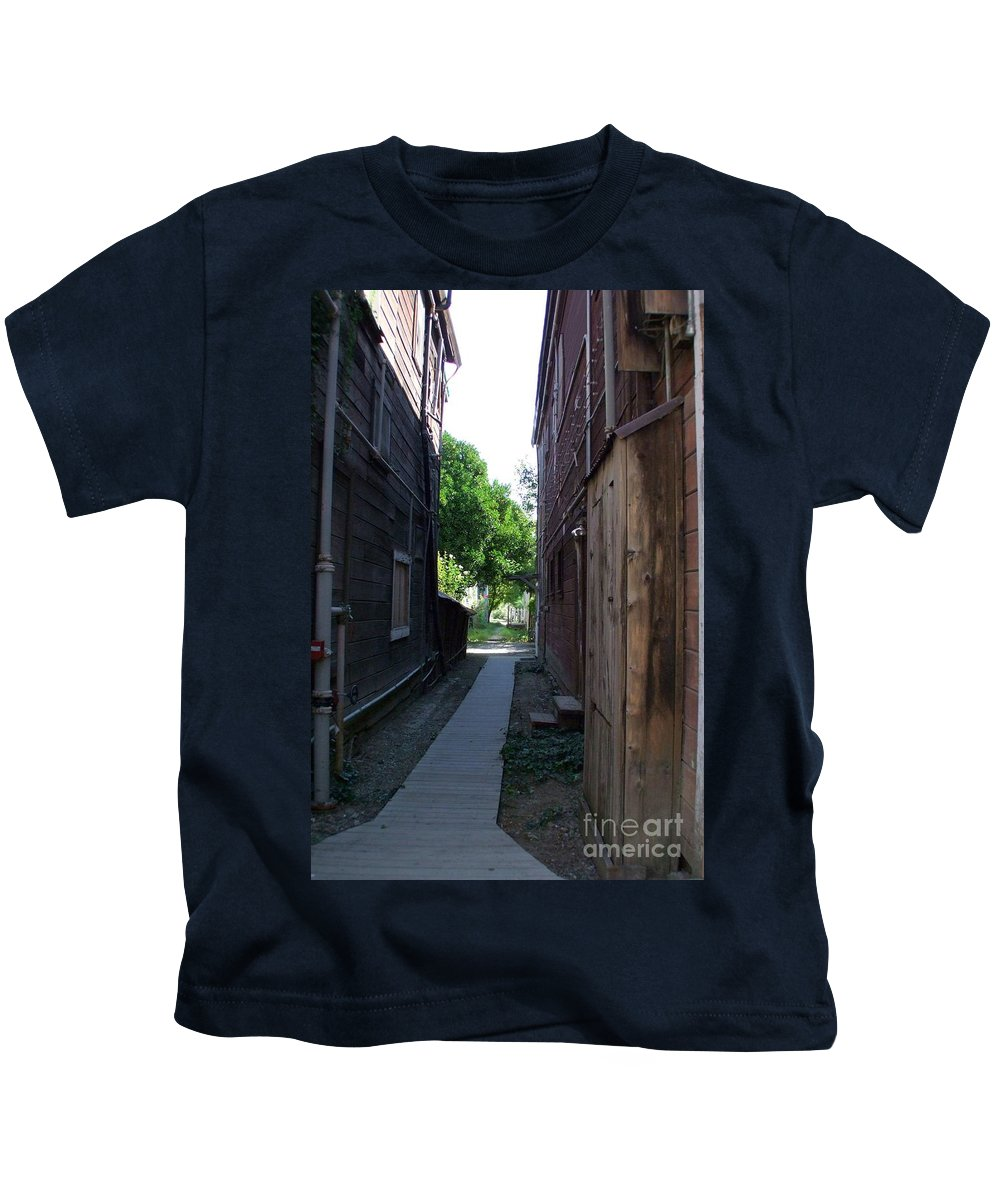 Alleyways Kids T-Shirt featuring the photograph Locke Chinatown Series - Alleyway With Trees - 4 by Mary Deal