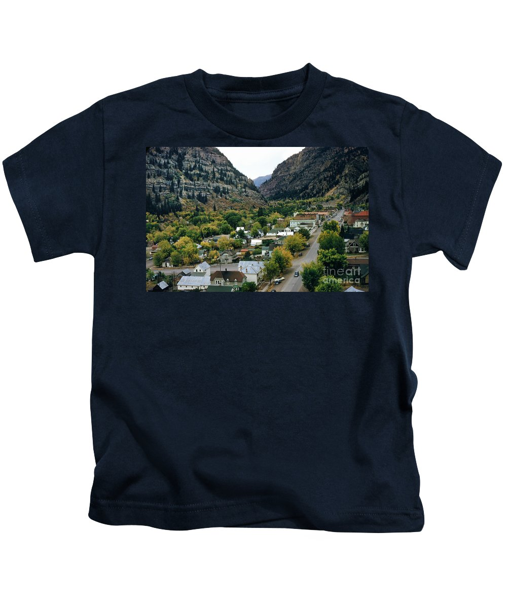 Looking Over Kids T-Shirt featuring the photograph Looking Over Ouray From The Sutton Mine Trail Circa 1955 by California Views Archives Mr Pat Hathaway Archives