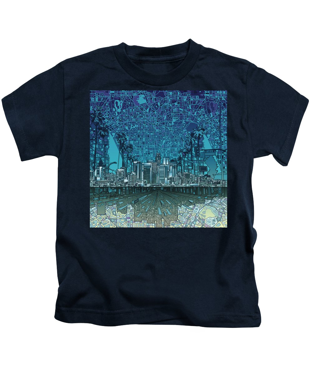 Los Angeles Kids T-Shirt featuring the painting Los Angeles Skyline Abstract 5 by Bekim Art