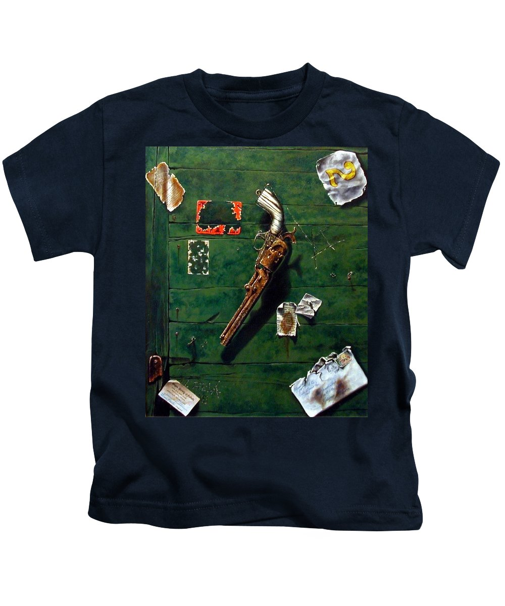 Trompe Le Oil Kids T-Shirt featuring the painting Lost And Found by Jim Gola