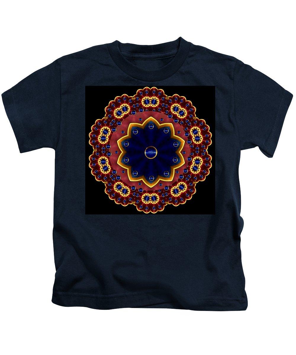 Mandala Kids T-Shirt featuring the mixed media Lotus Bloom by Pepita Selles