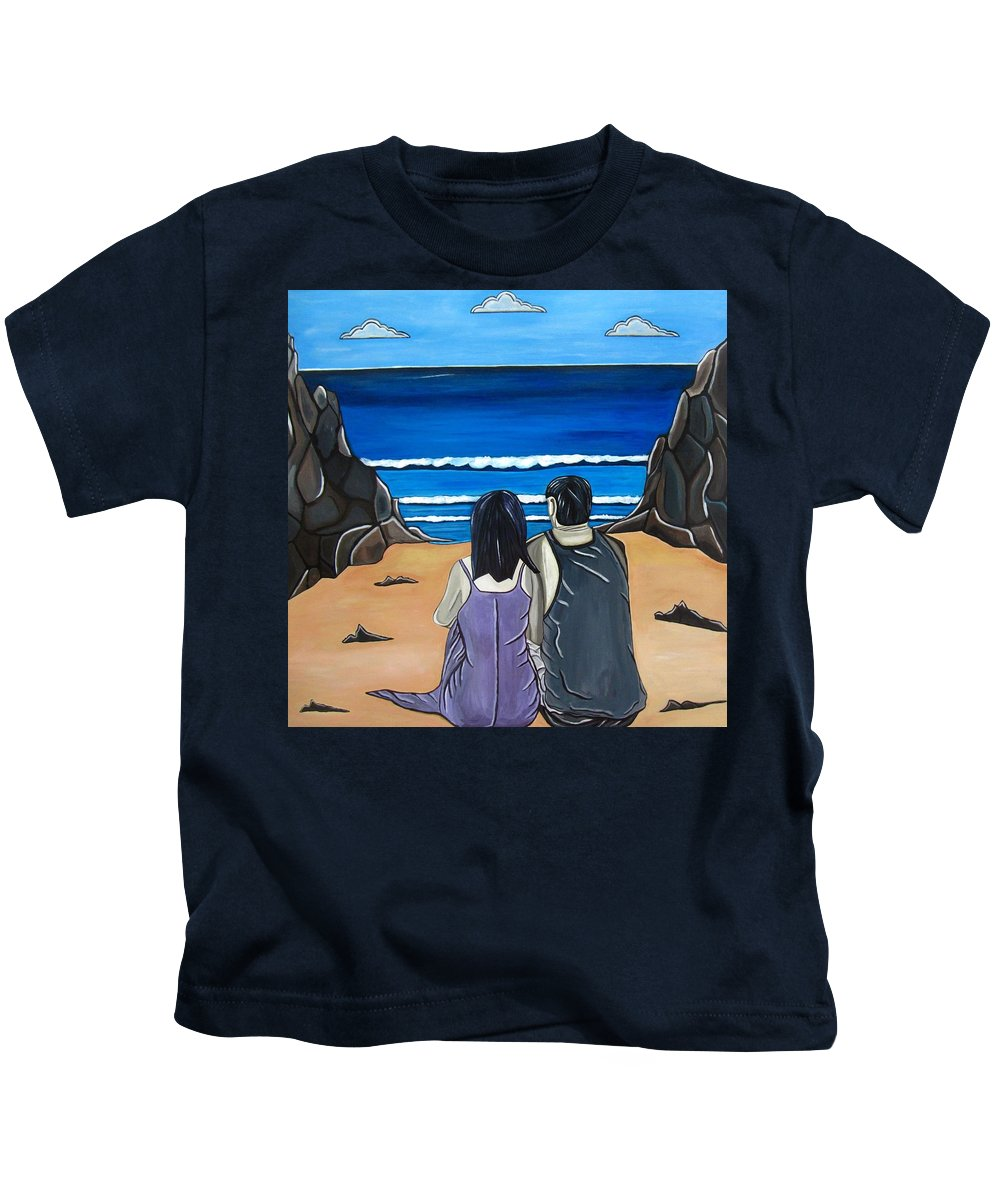 Beach Kids T-Shirt featuring the painting Love Is by Sandra Marie Adams