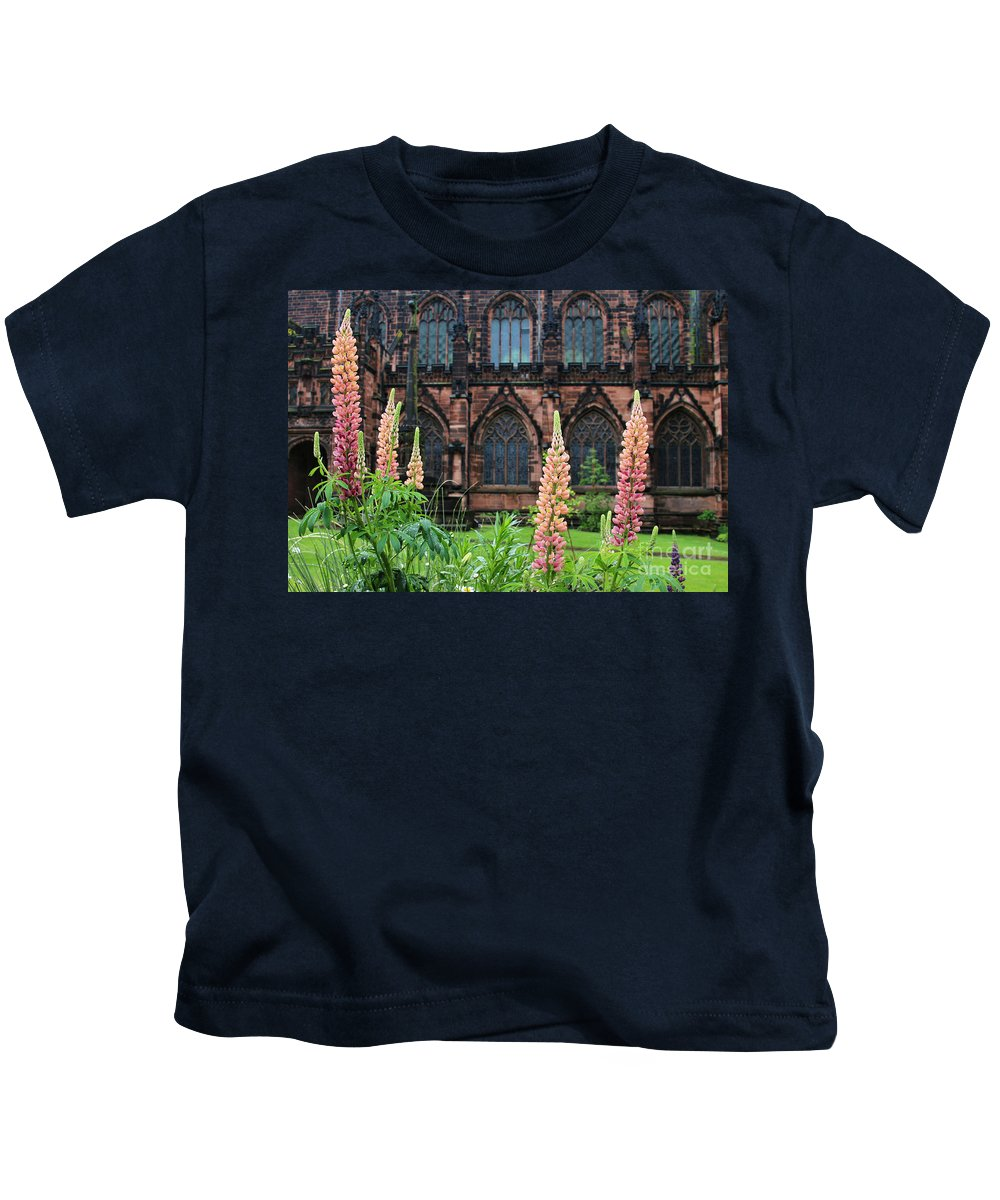 Lupines Kids T-Shirt featuring the photograph Lupines At Chester Cathedral 6805 by Jack Schultz