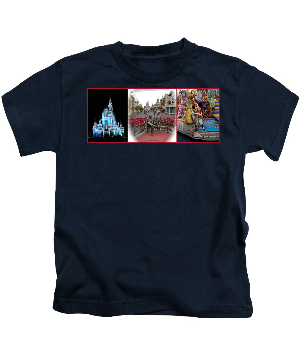 Composite Kids T-Shirt featuring the photograph Magic Kingdom Walt Disney World 3 Panel Composite by Thomas Woolworth