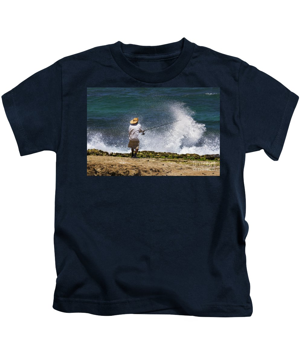 Fisherman Kids T-Shirt featuring the photograph Man Versus The Sea by Mike Dawson