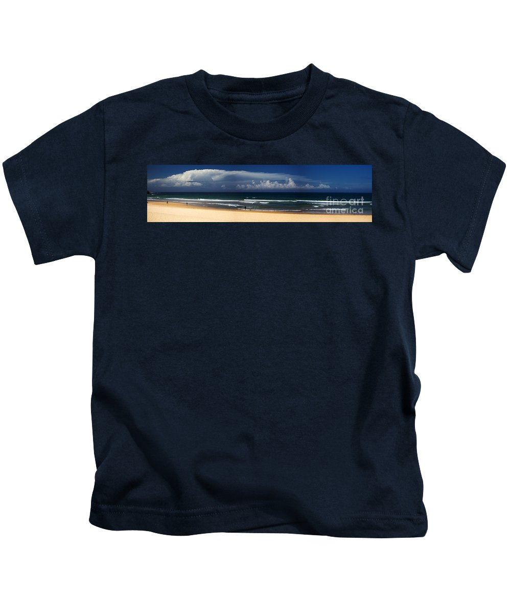 Manly Beach Kids T-Shirt featuring the photograph Manly Beach panorama by Sheila Smart Fine Art Photography