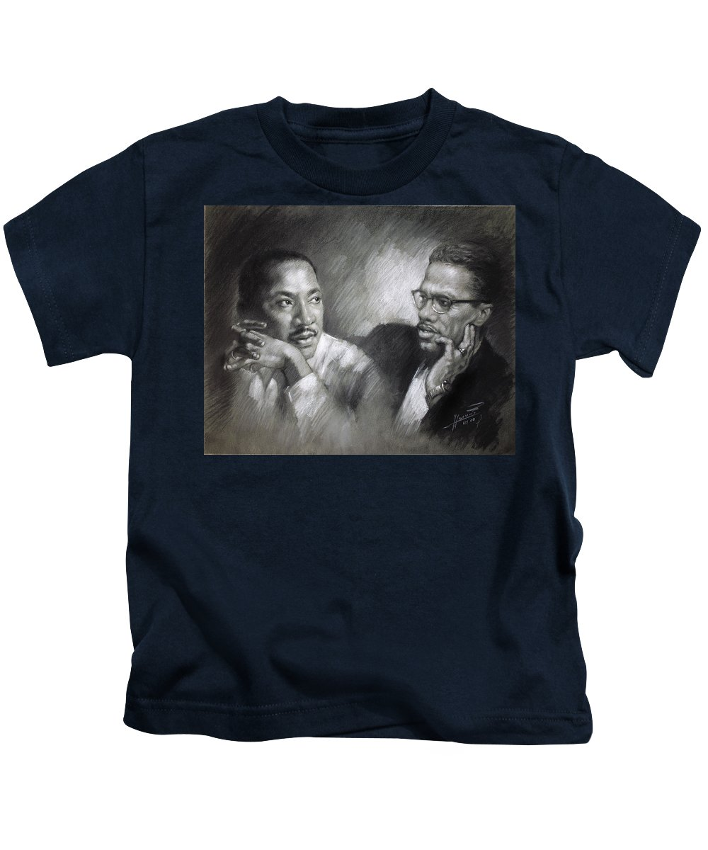 Malcolm X Kids T-Shirt featuring the drawing Martin Luther King Jr And Malcolm X by Ylli Haruni