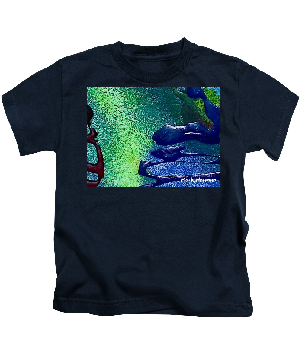 Mixed Medium Kids T-Shirt featuring the painting Mellow by Mark Herman