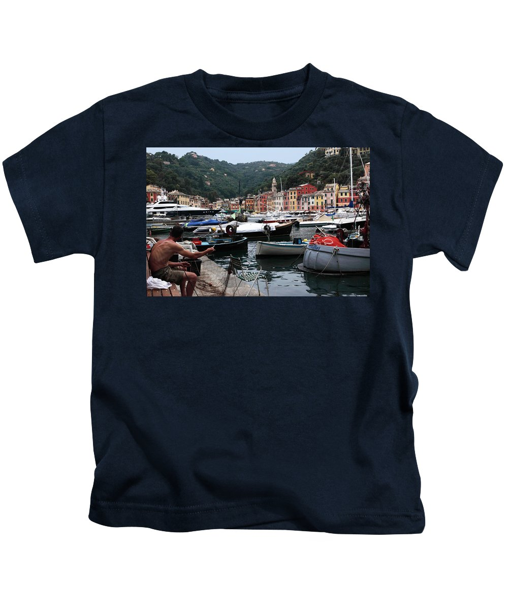 Portofino Kids T-Shirt featuring the photograph Mending The Fishing Nets by Susan Rovira