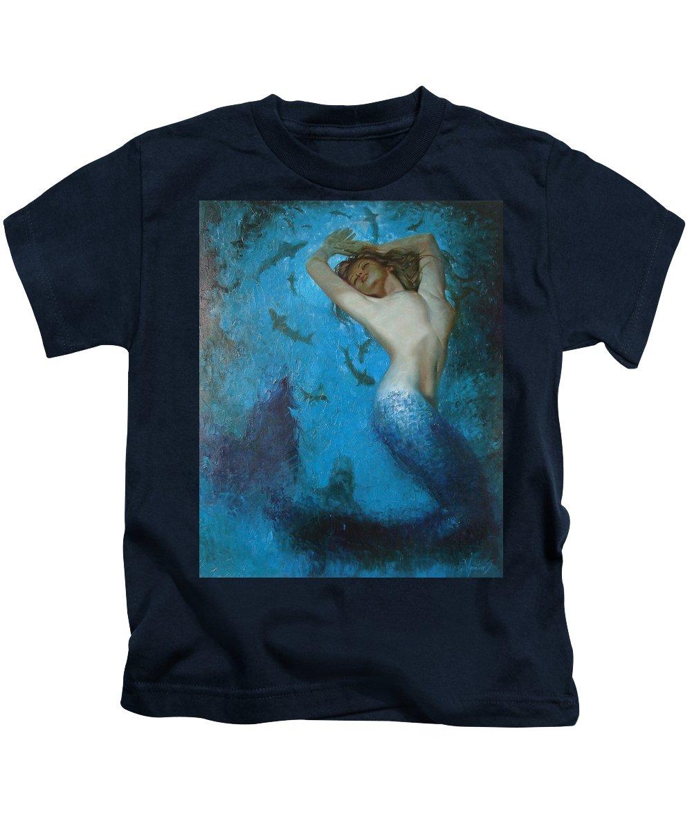 Ignatenko Kids T-Shirt featuring the painting Mermaid by Sergey Ignatenko