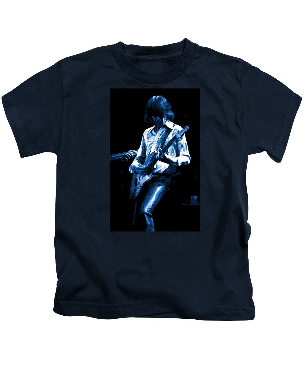 Mick Ralphs Kids T-Shirt featuring the photograph Mick Plays The Blues In Spokane 1977 by Ben Upham