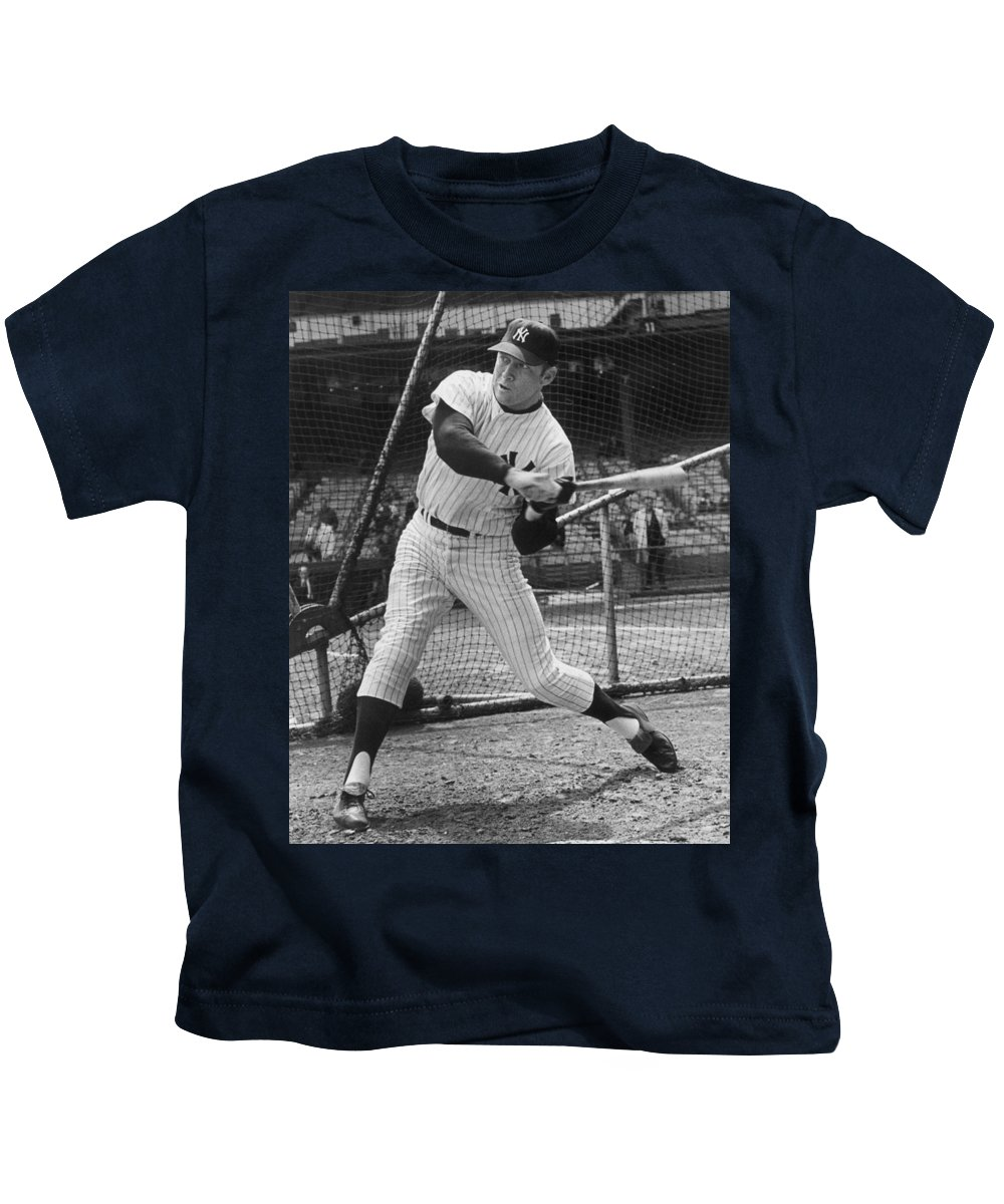 Mickey Kids T-Shirt featuring the photograph Mickey Mantle Poster by Gianfranco Weiss